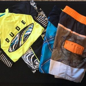 Other - [Swimwear Lot] 3 Swim Trunks + 1 Rash Guard sz 8